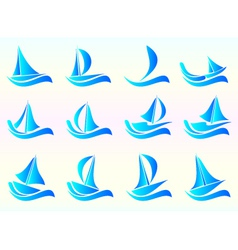 Yacht icon set vector image