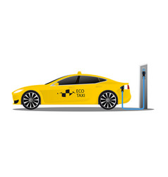 Yellow electric car with logo eco taxi vector