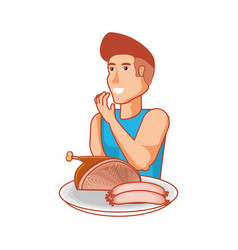 young athletic man with ham and sausages vector image