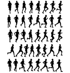 40 marathon runners vector image