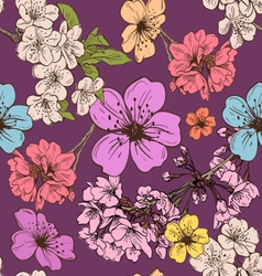 Apple flowers pattern backgrounds vector image