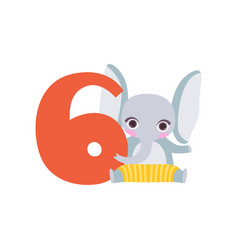funny cute elephant animal and number six vector image vector image