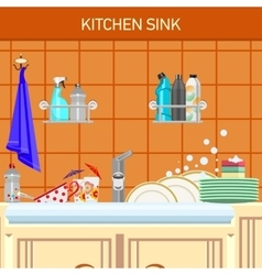 kitchen sink vector image vector image