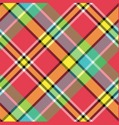 madras bright color check plaid seamless fabric vector image