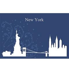 New York city skyline on blue background vector image
