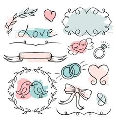 Romantic set hand drawn elements vector image