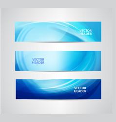 set of abstract blue wavy headers water vector image vector image