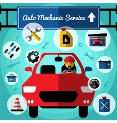 Auto Mechanical Service Decorative Icons Set vector image