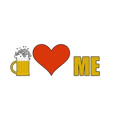 Beer loves me Heart symbol of adoration Mug of vector image