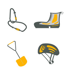 Carbine hiking boots shovel helmet flat icons vector