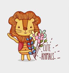 Cute lion doodle cartoon vector