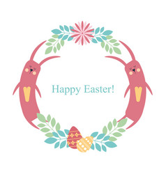easter round frame rabbit flowers plants eggs vector image