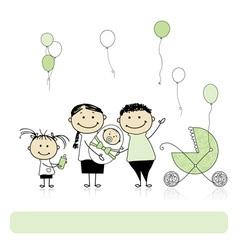 Happy birthday parents with children newborn baby vector image vector image