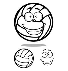 Happy cartoon volleyball ball character vector image vector image