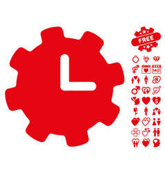 time settings icon with valentine bonus vector image