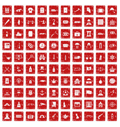 100 offence icons set grunge red vector image vector image