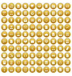 100 work paper icons set gold vector image vector image