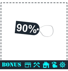 90 percent discount icon flat vector image