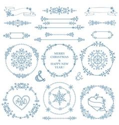 ChristmasNew year decor setWinter wreath frames vector image