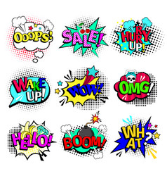 Comic book texts speech bubbles vector