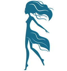 graceful girl with waving hair in motion vector image