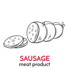 hand drawn sausage icon vector image