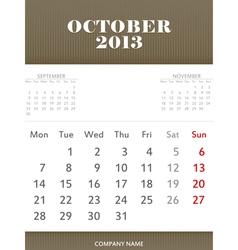 October 2013 calendar design vector image vector image