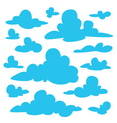 set of blue fluffy clouds silhouettes on white vector image vector image