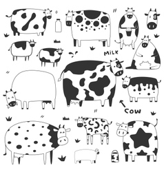 set of funny cows vector image
