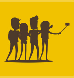 silhouettes of young modern people pose for selfie vector image vector image