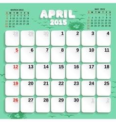 April Month Calendar 2015 vector image vector image