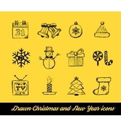 Christmas Drawn set vector image vector image