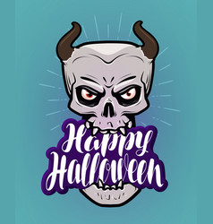 happy halloween greeting card monster with horns vector image