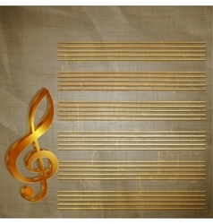 paper musical background with gold lettering vector image vector image