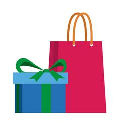 shopping gift box paper bag vector image