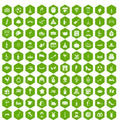 100 wine icons hexagon green vector