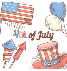 4th of july usa independence day hand drawn design vector