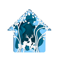 Abstract nature house with deer and tree paper vector