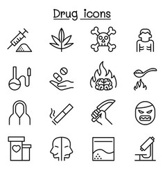 Addiction drug icon set in thin line style vector