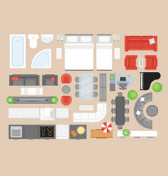 apartment furniture flat set vector image