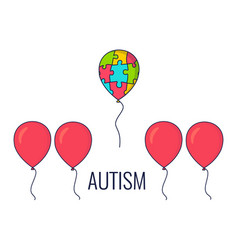 Autism awareness balloon poster vector