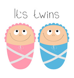 Baby shower card its twins boy girl cute cartoon vector