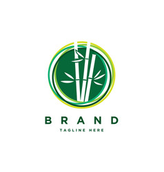 bamboo in circle logo design template vector image