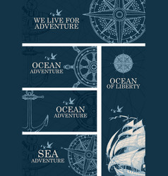 banners on theme sea and ocean adventure vector image