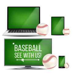 Baseball application field baseball ball vector