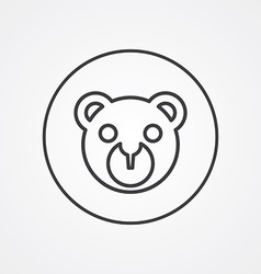 Bear toy outline symbol dark on white background vector