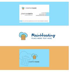 beautiful cloud trash logo and business card vector image