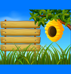 beehive in the garden with blankwood vector image