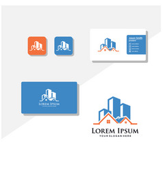 Building logo and business card vector