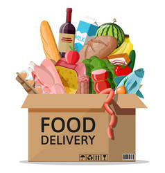 Cardboard box with fresh products vector